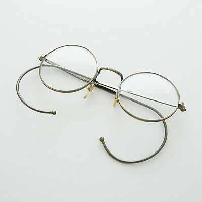 Round Lennon Spectacle Vintage Glasses with Cable Temples NOS Ant Brnz - RUDY