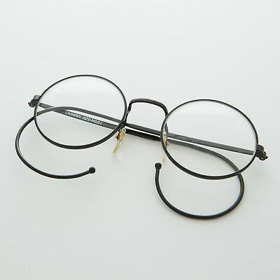 Round Lennon Spectacle Vintage Glasses with Cable Temples NOS Black - RUDY