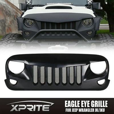 Eagle Eye Black Front Grill with Built-In Steel Mesh for 2007-2016 Jeep Wrangler