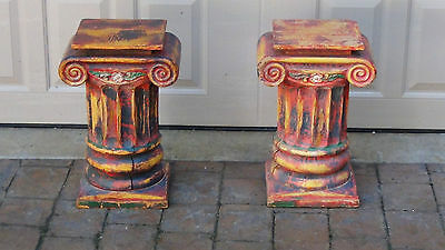 Pair Antique Architectural Carved Painted Wood Postspediment Excellent Pedestals
