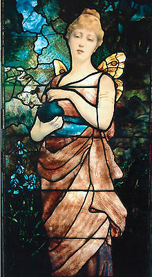 Stained Glass Window Tiffany Studios Winged Lady Holding An Urn
