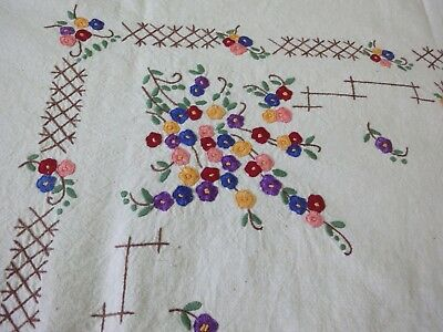 Beautiful Vintage Hand-Embroidered Tapestry With Horses And Multi-Color Flowers