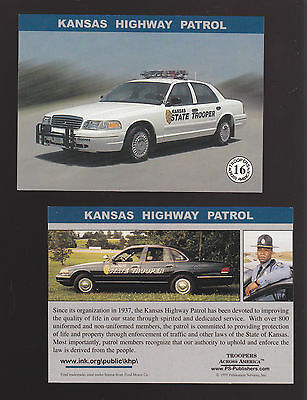KANSAS STATE POLICE TROOPERS Ford Squad Car Highway Patrol 1999 TRADING CARD