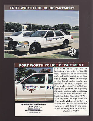 FORT WORTH Texas POLICE DEPARTMENT Ford City Squad Patrol Car 2002 TRADING CARD