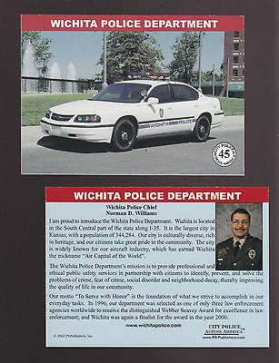 WICHITA Kansas POLICE DEPARTMENT Ford City Squad Patrol Car 2002 TRADING CARD