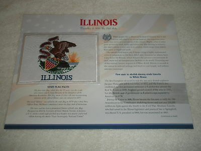 ILLINOIS State Flag WILLABEE & WARD PATCH INFO CARD