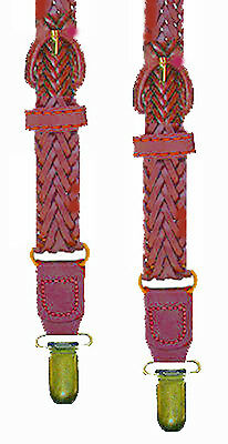 Braided Leather Suspenders - Clip / Y-Back - Dk Brown - 1 Size - Adjustable- New