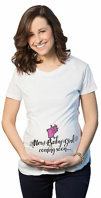 Maternity New Baby Girl Coming Pregnancy Announcement T shirt Pink Bird (White)