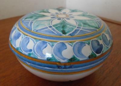 Caltagirone Italian Pottery Dressertrinket Box Hand Painted Italy Dely