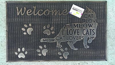 Cat Paw Prints - Natural Rubber With Copper Finish Door Mat