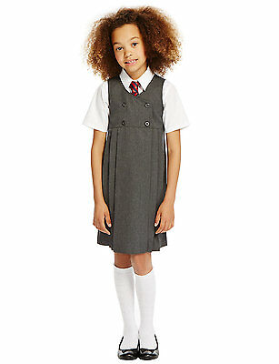 M&S Girls School Pleated Pinafore Dress Double Breasted Ages 2-12 Grey