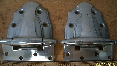 Nice Pair Of Big, Fancy, Chrome Plated Brass Hinges