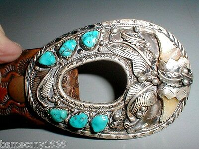 Vtg Sterling Silver Turquoise Native American Hand made Western Belt Buckle