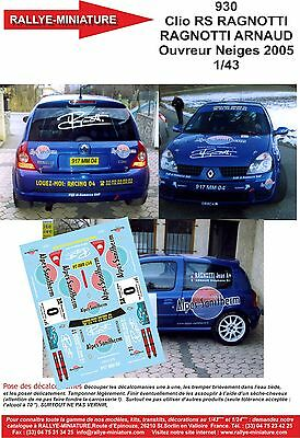 DECALS 1//43 RENAULT CLIO RAGNOTTI RALLY MADEIRA 1992