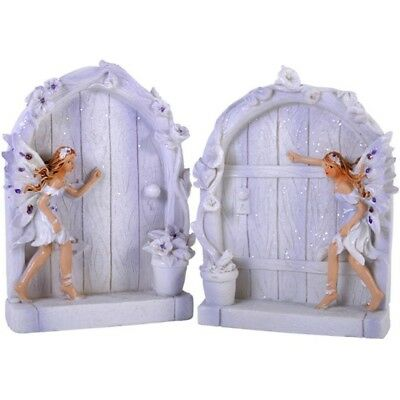 Pair of 2 Sparkle Fairy Doors Magical Garden Statue Ornament Figurines Lilac