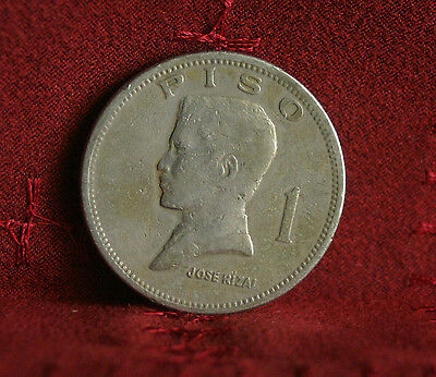 Philippines 1 Piso 1972 Nickel Large World Coin KM203 Shield of Arms Asia Rizal