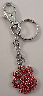 Rhinestone Bling Siam Red Paw Print Dog Bear Paw Print Key Chain Purse Charm Fob