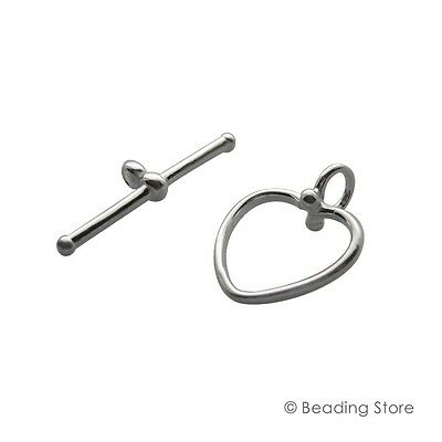 1 or 10 x 925 Sterling Silver 14mm Heart Toggle Clasp T Bar Clasps High Polished