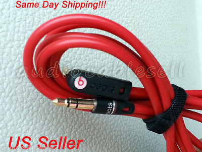 Original Beats Audio Cable Cord Wire 3.5mm L Jack For Dre Pro, Studio Solo - Red