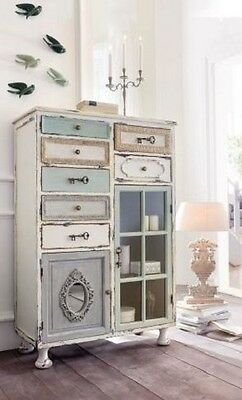 bunte kommode beistellschrank 10 schubladen shabby chic. Black Bedroom Furniture Sets. Home Design Ideas