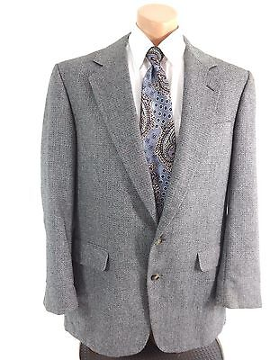 Corbin Of Huntington Mens Navy Gray Tweed Wool Sport Coat Suit Jacket Size 44R