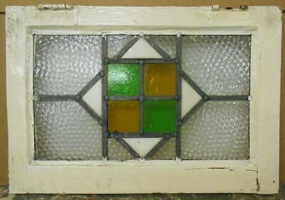 "OLD ENGLISH LEADED STAINED GLASS WINDOWNice Geometric 20.25"" x 14"""