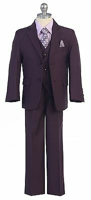 Boy Toddler Kid Teen 5PC Wedding Formal Party Plum Suit Tuxedo w/ Vest size 2-20