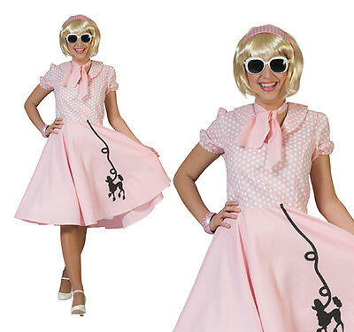 402e5c416e19 Ladies Pink Rock N Roll Poodle Fancy Dress Costume 1950S Grease Outfit UK 10 -14