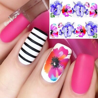 Nail Art Water Decals Wraps Purple Pink Summer Flowers Floral Gel Polish (131)