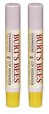 2 Pack Burts Bees Lip Shimmer, Champagne, 0.09 Oz Each