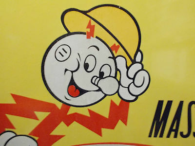 Reddy Kilowatt Massachusetts Electric HUGE porcelain enamel sign. 4' by 29 1/2""