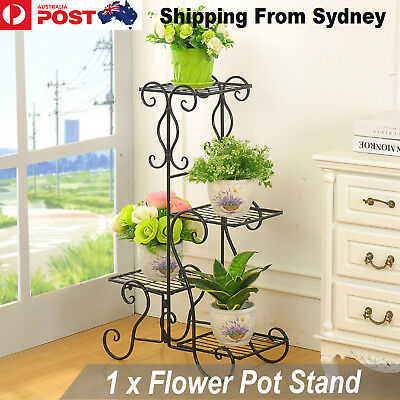 New Flower Pot Stand 4 stepped Black Plant Wedding Garden Yard Decoration Metal