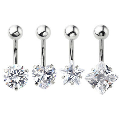 Stainless Steel Clear CZ Crystal Navel Belly Button Ring Bars Barbell Piercing