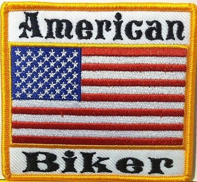 AMERICAN BIKER WITH USA FLAG EMBROIDERED  Iron-On Patch Gold Border