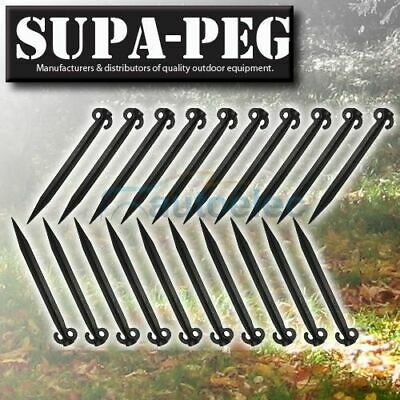20x 490mm x 40mm SUPA-PEG TENT SAND PEGS POLYPROPYLENE HEAVY DUTY ANNEX BLACK