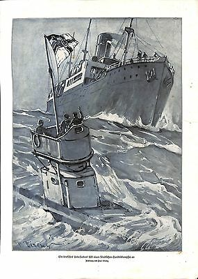 E1984 WWI print 1914/18- German U-Boot submarine drawing by Direnz ,size: 23,5 x