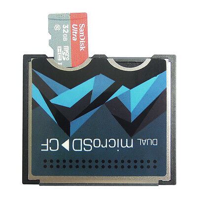Dual Slot Micro SD/SDXC TF to CF Compact Flash type I II Card Reader Adapter