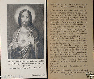 Old Blessed Sacred Heart Of Jesus Holy Card Novena Andachtsbild Santini Cc592
