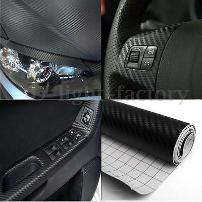 2Mx400MM Car Home DIY 3D Carbon Fiber Vinyl Wrap Sticker Decal Bubble Free Black