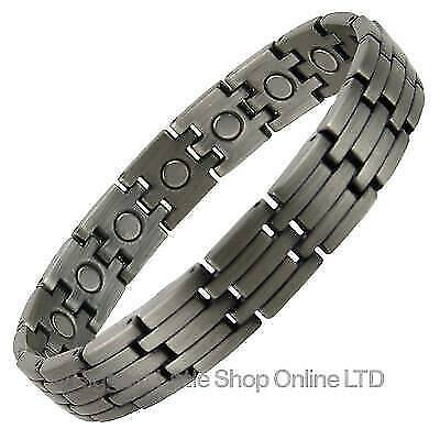 NEW Mens Copper Alloy with Pewter Finish Magnetic BRACELET Magnet Health Therapy