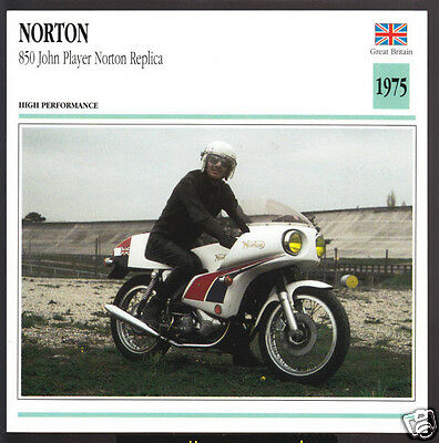 1975 Norton 850 John Player JPS 828cc Motorcycle Photo Spec Sheet Card