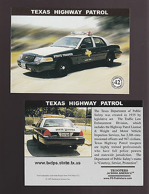 TEXAS STATE POLICE TROOPERS Ford Squad Car Highway Patrol 1999 TRADING CARD