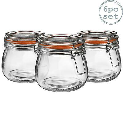Glass Storage / Food Preserve Preserving Clip Top Jar - 500ml - x6