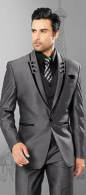 New Grey Men Suits Slim Fit Peaked Lapel Tuxedos  3 Piece Wedding Suits