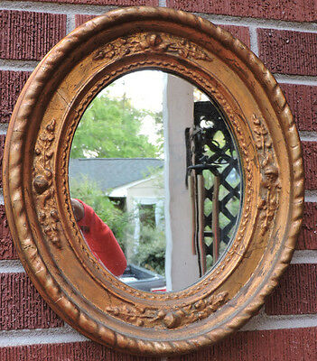Antique Victorian OVAL Gilt GOLD Old MIRROR Frame CHARLESTON,SC 8 x 10 c1850s
