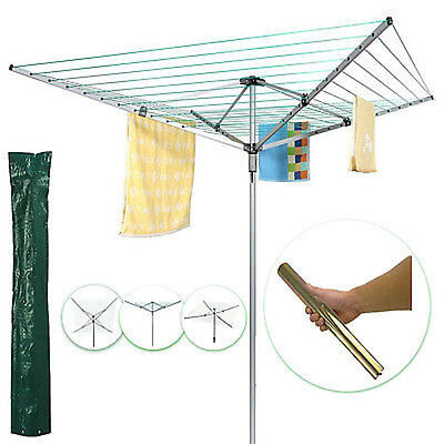 50m Aluminium washing line Garden Revolving Rotary Clothes line Cover And Spike