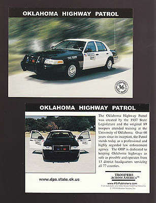 OKLAHOMA STATE POLICE TROOPERS Ford Squad Car Highway Patrol 1999 TRADING CARD