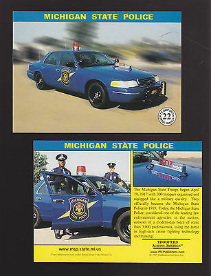 MICHIGAN STATE POLICE TROOPERS Ford Squad Car Highway Patrol 1999 TRADING CARD