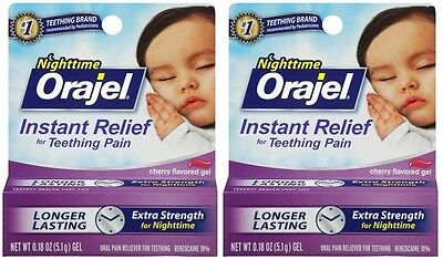 2 Pack - Orajel Nighttime Formula, Teething Pain Relief .18 oz Each