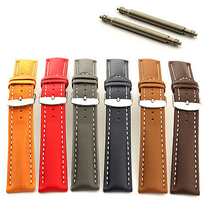 Men's Padded Genuine Leather Watch Strap Band Sahara Ss Buckle Spring Bars